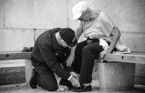 Man helping a lady